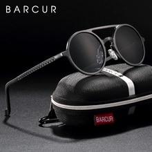 Del Progettista di marca Steampunk occhiali da Sole Retrò Femminile di Alluminio e magnesio Occhiali Da Sole Da Uomo Occhiali Da Sole Rotondi Polarizza oculos de sol