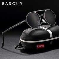 Marca designer steampunk óculos de sol feminino retro alumínio magnésio óculos de sol dos homens redondos polariza oculos de sol