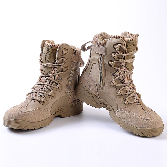 Botas militares de trabajo para senderismo botas militares de cuero con costura de combate impermeables para