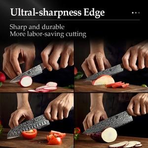 Image 5 - XINZUO 5 Pcs Kitchen Knife Set 67 layers Japanese Damascus Stainless Steel Santoku Cleaver Chef Paring Knives Pakkawood Handle