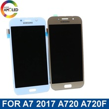 Super AMOLED LCD A7 For Samsung Galaxy A7 2017 A720 A720F  mobile phone LCD Display Touch Screen Assembly+ brightness control original amoled a7 2017 a710 lcd display for samsung galaxy a7 2017 a720 a720f lcd display touch screen digitizer assembly