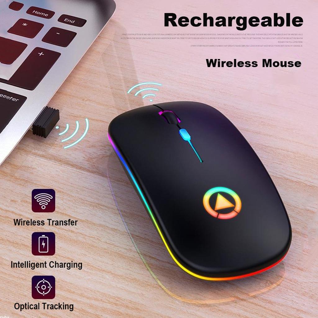 Ультра-тонкая беспроводная мышь 2,4 GHZ светодиодный бесшумный немой цветной оптической мыши с подсветкой со скрытым usb-приемником DPI Регулиру...
