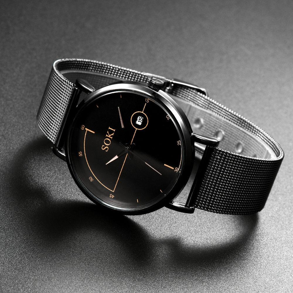 Часы наручные мужские с календарем Роскошные ультратонкие Модные