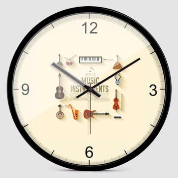 2019 Cartoon Wall Clock Creative Musical Instrument Mute Wall Clock Watch Home Music Classroom Personality Clocks 60zb010112