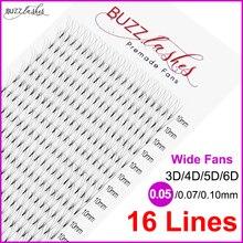 Transporte rápido 16 linhas 0.07/0.10mm melhor calor ligado pré feito fãs largos 3d/4d/5d/6d cílios volume pré extensão dos cílios
