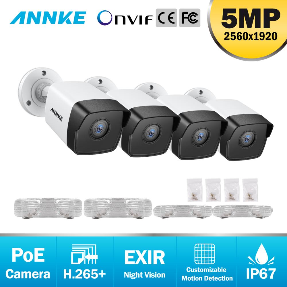 ANNKE 4PC Ultra FHD 5MP POE IP Camera Outdoor Indoor Waterproof Security Network Bullet Night Vision Email Alert Camera
