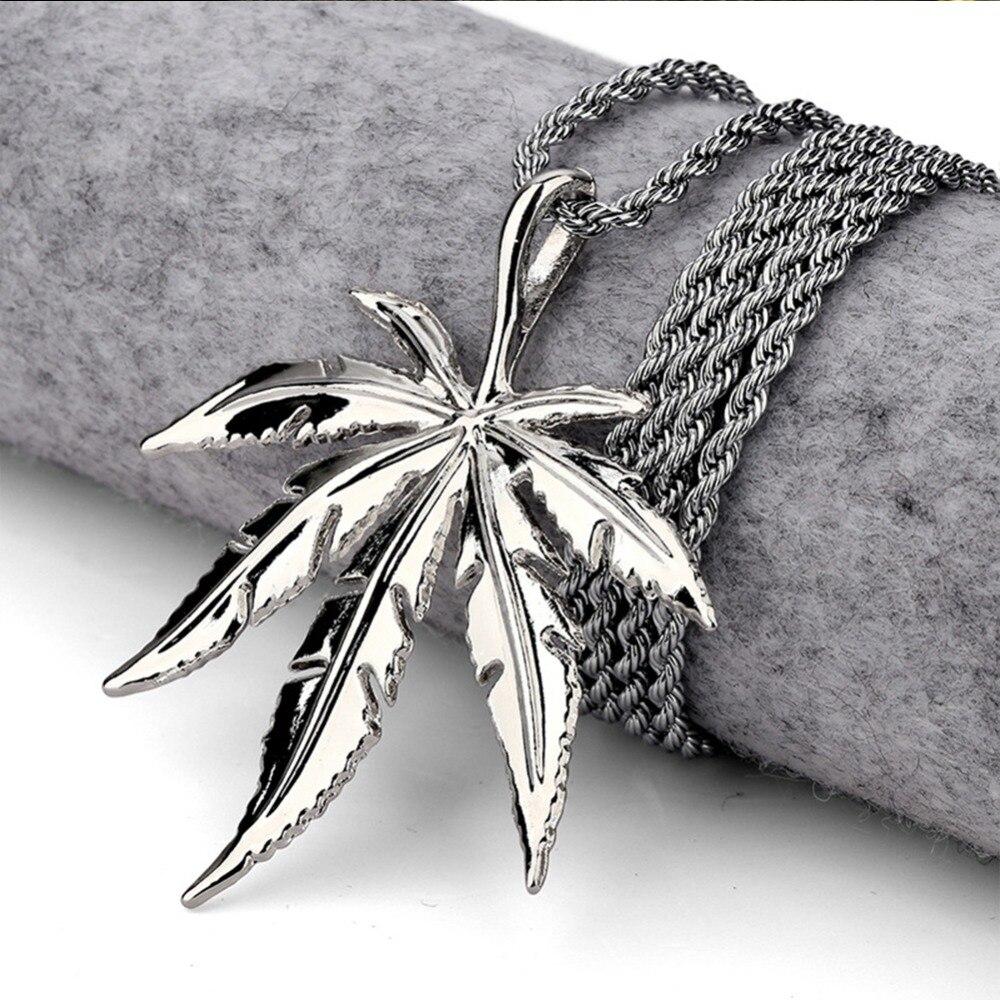 Men Women Golden Silver Plated Hemp Leaf Pendants Necklace Weed Chains Hip...