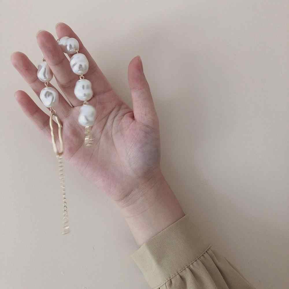 AOMU 2019 yeni barok düzensiz İmitasyon İnci bilezik Metal altın püskül Charm bilezikler kadınlar için parti takı aksesuarları