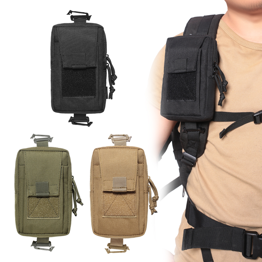 1000D Tactical Molle Pouch Outdoor Mobile Phone Wallet Pouch EDC Waist Bag Utility Vest Backpack Hanging Bag for Hunting Camping