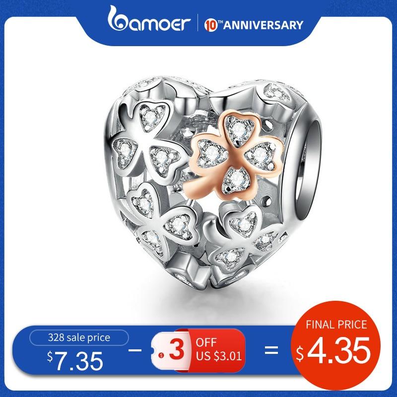 Bamoer Lucky Clover Heart Shape Charm For Women Luxury Brand Bracelet 3mm Rose Gold Color 925 Sterling Silver Jewelry SCC1248