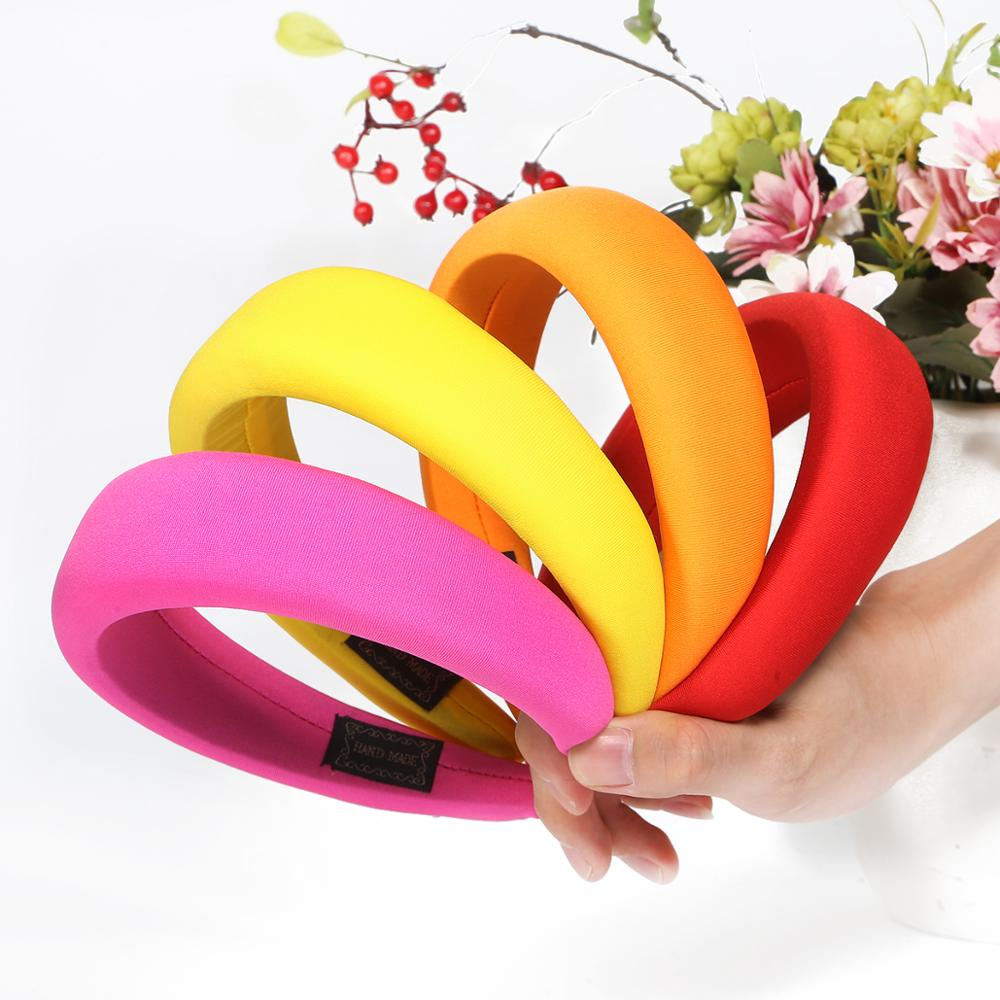 New Glossy Satin Headbands For Women Multi-color Red Pink Black 4cm Wide 1.5cm Thick Sponge Plastic Pad Hair Bands Wholesale DIY