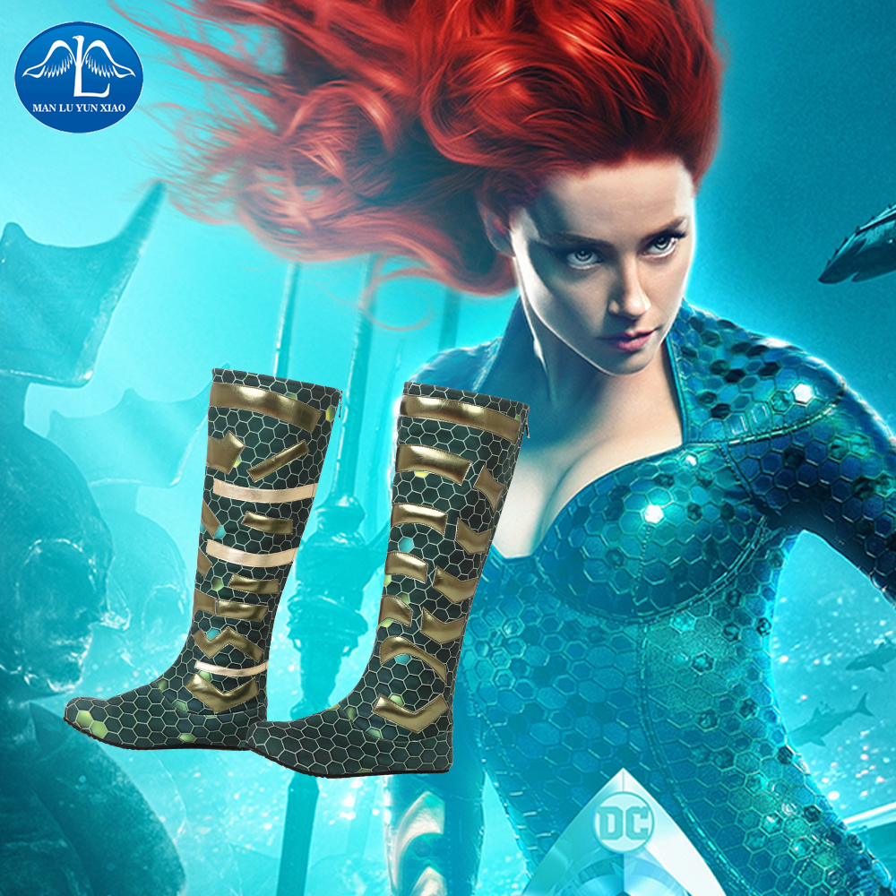 Manluyunxiao Aquaman Mera Cosplay Female High Boots Flat Heel Carnival Halloween Costume For Women Masquerade Shoes