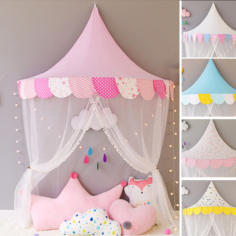 Kids Teepee Tipi Tents Children Play House Cottages Cotton Bed Tent Canopy Foldable Crib Baby Room Photography Props Toy Tent