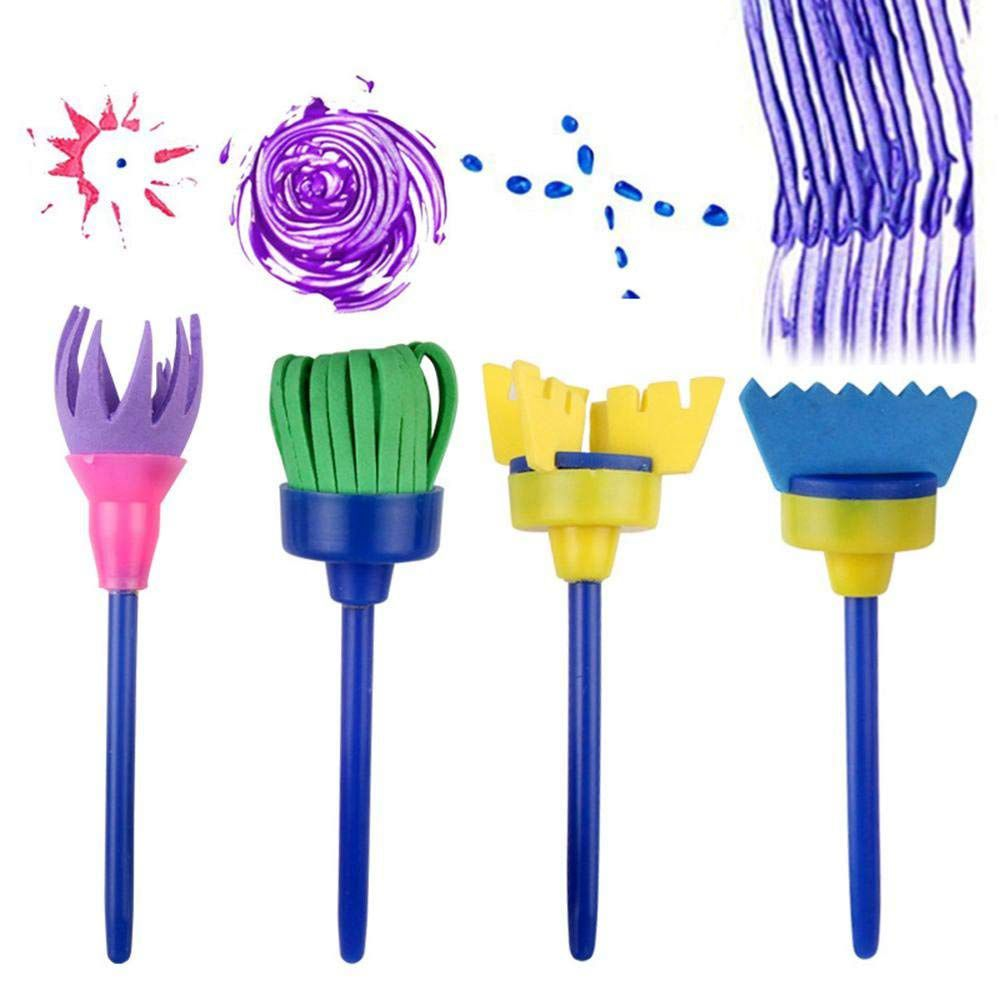 Sponge Paint Brushes For Kids, 4 Pack Early Learning Drawing Painting Tools Set For DIY Arts Crafts, Besom