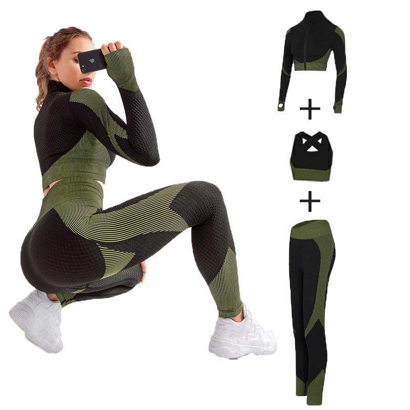 3 חתיכות סט חלקה ספורט סט נשים ריצה חדר כושר בגדי אימונית ספורט יבול למעלה יוגה מכנסיים אימון סט בגדי כושר