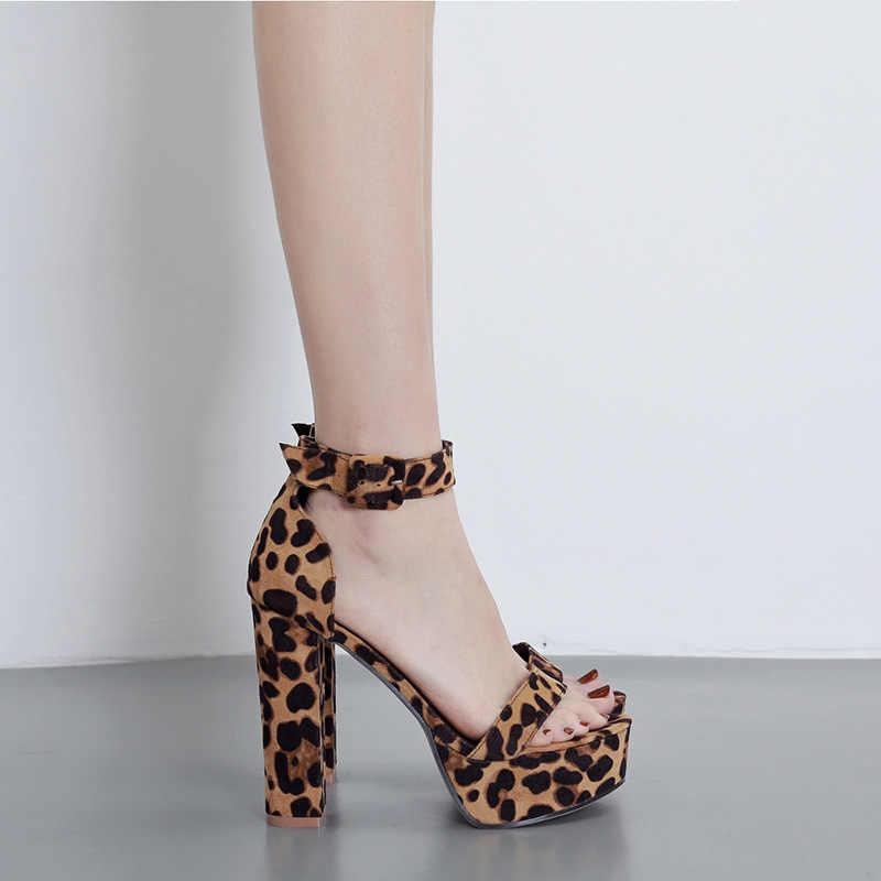 LALA IKAI 2020 yaz yeni kadın ayakkabısı platformu Peep Toe yüksek kalın topuklu katır sandalet leopar bayan parti ayakkabıları XWC6878-4