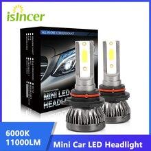 ISincer 80W11000LM سيارة المصباح مصغرة مصباح H7 LED لمبات H1 LED H4 H11 المصابيح الأمامية 9005 HB3 9006 HB4 6000k الضباب ضوء LED مصباح 1 قطعة
