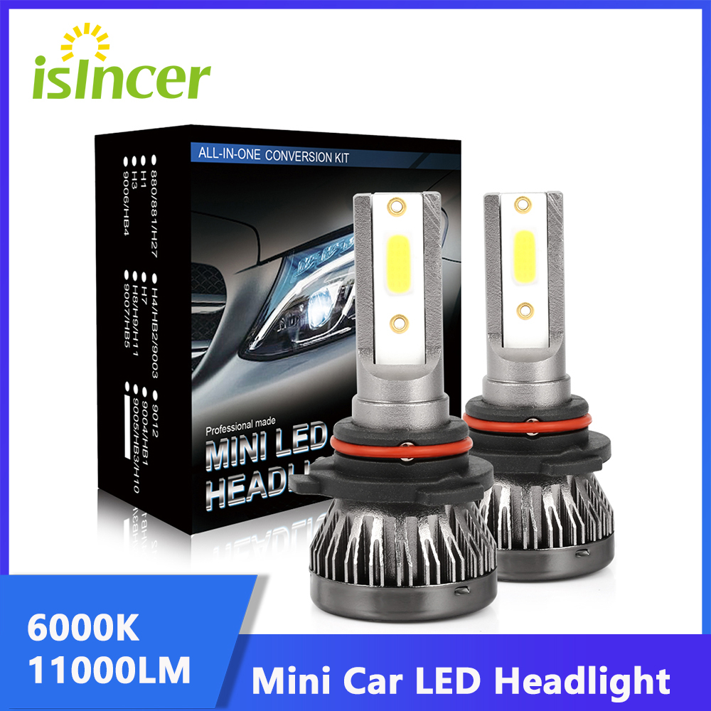 ISincer 80W11000LM автомобилей головной светильник мини-лампа H7 светодиодный лампы H1 светодиодный H4 H11 комплект фар 9005 HB3 9006 HB4 6000 К туман светильник ...