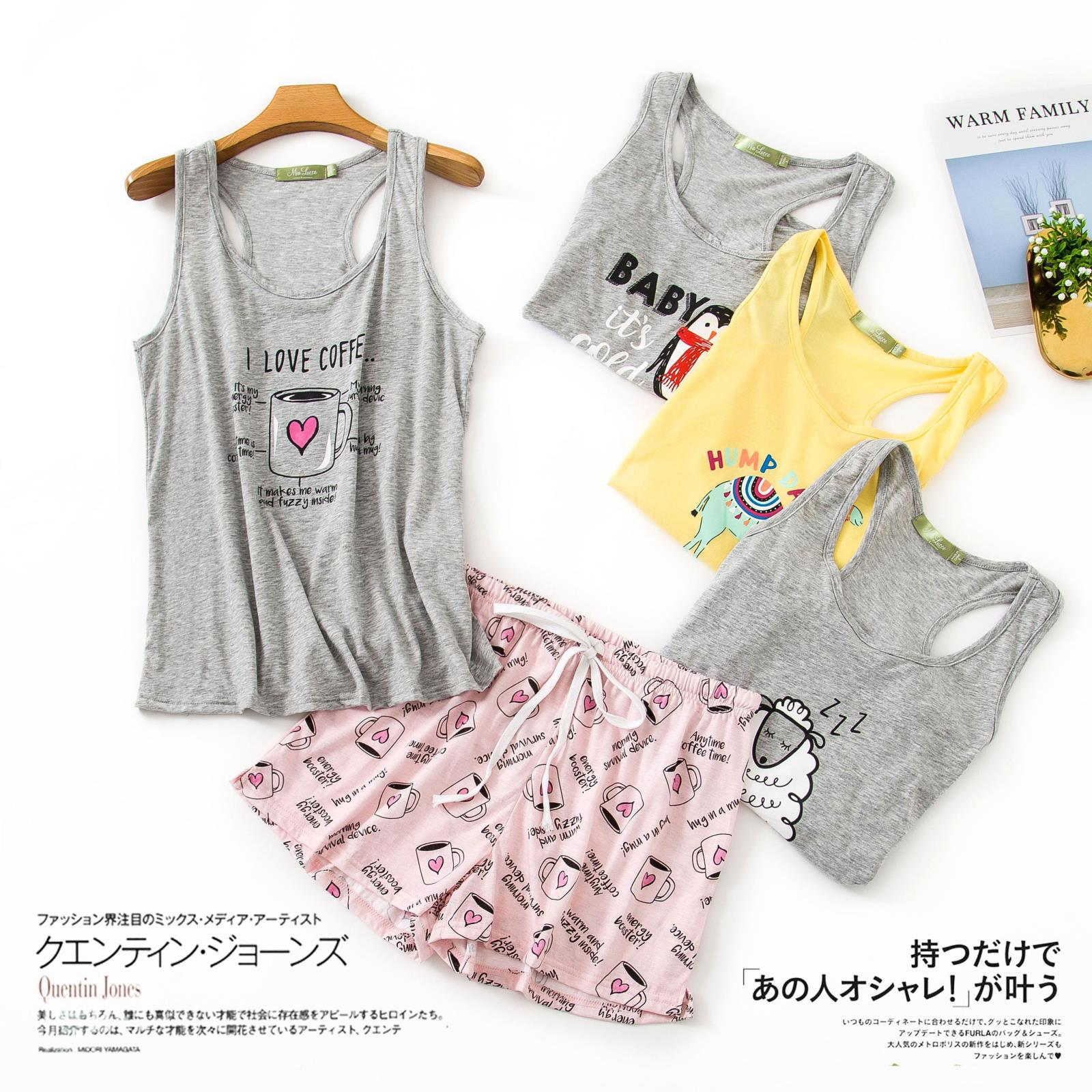 Summer Casual Cotton Sleeveless Pyjama Sets Women Girls Home Wear With Short Trousers