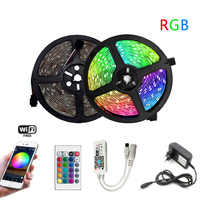 RGB LED Strip 5m 10m 15m Waterproof Led Neon Light 2835 5050 DC12V 30Leds/M Flexible Lighting Ribbon Tape Controller Adapter Set