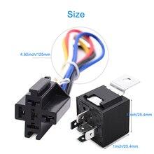 цена на DC 12V Car SPDT Automotive Relay 5 Pin 5 Wires W/Harness SocketS 30/40 Amp