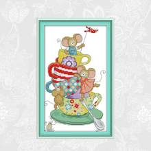 Joy Sunday mouse occupied Chinese Cross stitch kits DMC 14CT 11CT Printed Fabric Hotel Home Decor Painting Factory Wholesale(China)