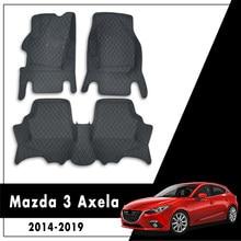 Para Mazda 3 Axela 2019 2018 2017 2016 2015 2014 alfombrillas de coche decoración de cuero Protector de automóviles alfombras de estilo