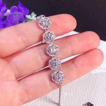 Total 2.5ct Moissanite Classic Flower Bud Bracelet S925 Silver D Color Vvs1 Moissanite Bracelets for Women Fine Jewelry