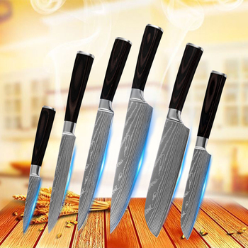 """Kitchen Knives 6pcs Set Stainless Steel Color Wood Handle 7Cr17 Kitchen Accessories Cooking Tools 3.5"""" 5"""" 5"""" 7"""" 8"""" 8"""" Chef Knife"""