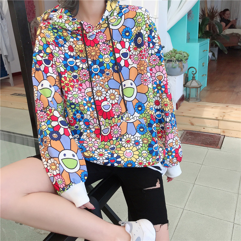 2019 Autumn New Style Full Printed Sunflower Hoodie Loose-Fit BF Style Cool Plant Printed Pullover Fashion Men's Sweatshirts & H