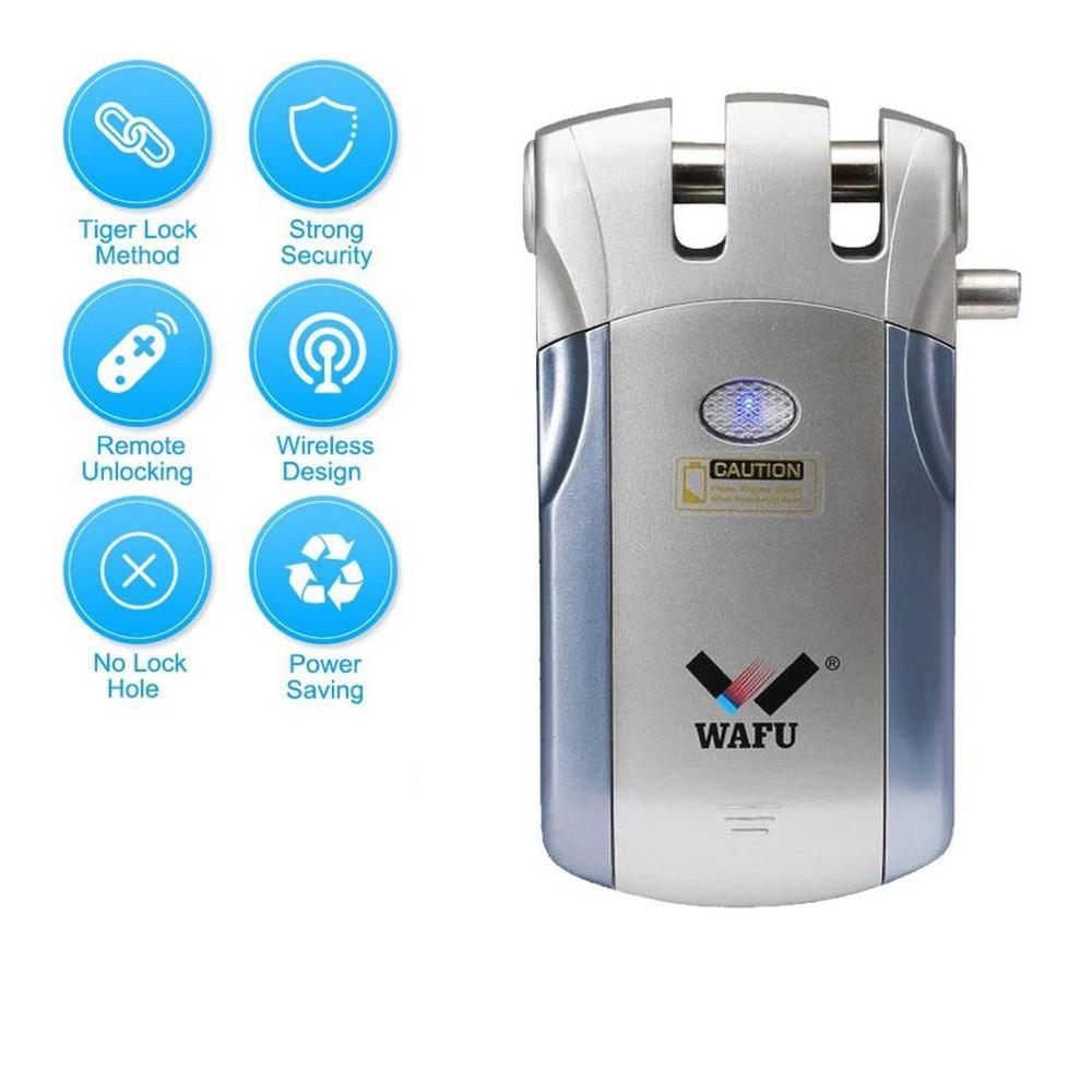 Wafu WF-019Electric Door Lock Wireless Control With Remote Control Open & Close Smart Lock Home Security Door Built-in Alarm