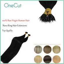 Nano Ring Hair Extensions Raw Virgin Hairpieces Natural Straight Pure Color Micro Bead Blonde Black Pre-bonded Fusion Hair