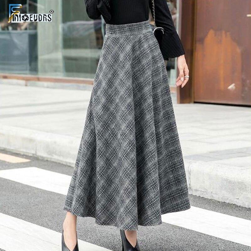 A Line Winter Skirts Women Hot Warm Design Elegant Lady Office Long Skirt Plaid Printed Elastic High Waist Vintage Plaid Skirts