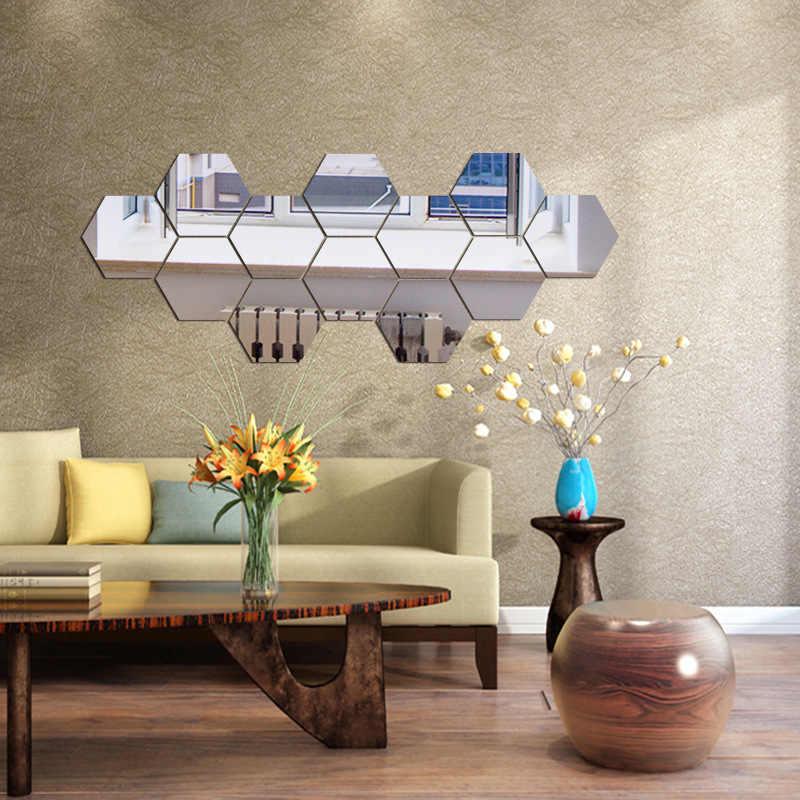 7 ชิ้น/เซ็ต 3D Hexagon อะคริลิคกระจกสติ๊กเกอร์ติดผนัง DIY Art Wall สติ๊กเกอร์ตกแต่งบ้านตกแต่งห้องนั่งเล่น Mirrored สติกเกอร์ GOLD