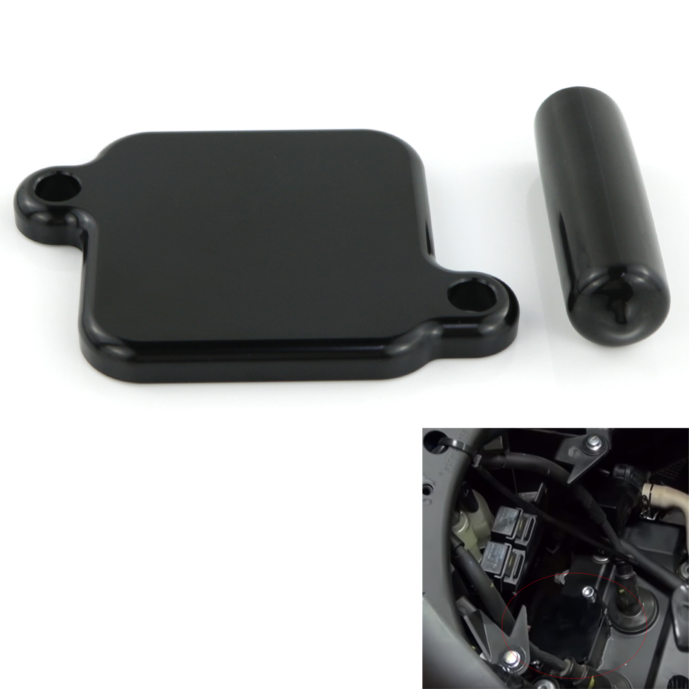 For <font><b>Yamaha</b></font> YZF-R3 R3 <font><b>R25</b></font> 2015 2016 2017 2018 <font><b>2019</b></font> Motorcycle Accessories Smog Block Off Plates Cover CNC Aluminum Black Silver image
