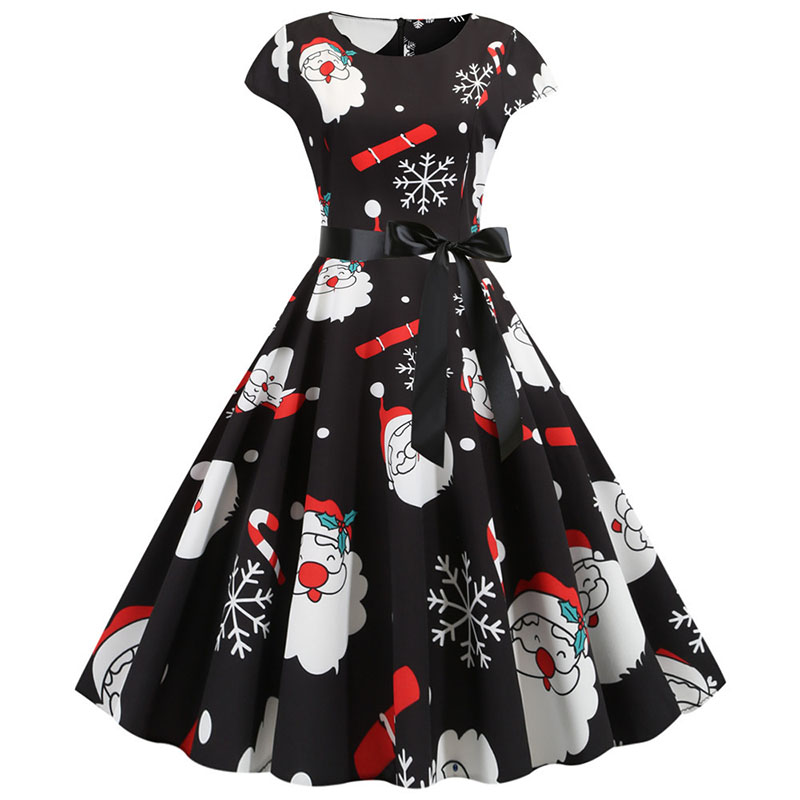 Women Christmas Party Dress robe femme Plus Size Elegant Vintage Short Sleeve Xmas Summer Dress Black Casual Midi Jurken Vestido 636