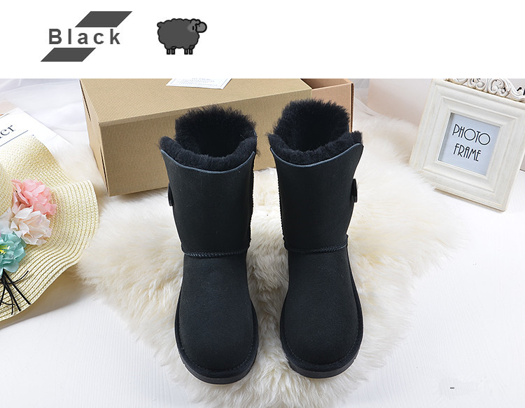 2020 Classic Australia women snow boots Real Sheepskin suede leather Mid-calf button wool fur lined Keep warm winter women shoes