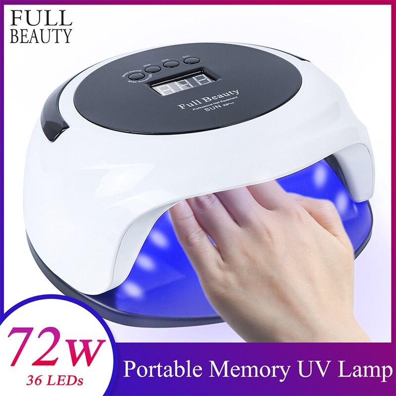 72W Speicher Timer Nagel Trockner Led UV Tragbare Lampe Heilung Für Alle Gel Polnisch LCD Display Nail art Maniküre maschine Werkzeug SONNE X2plus