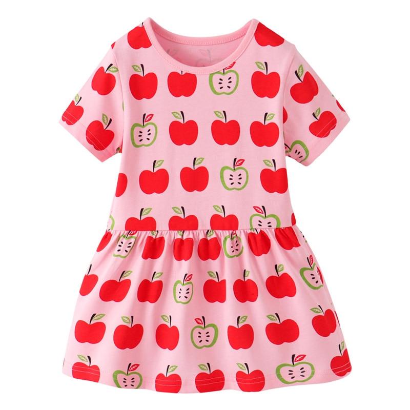 Jumping Meters Children Summer Dresses With Apples Print Cotton Princess Tutu Cute Party School Girls Dress