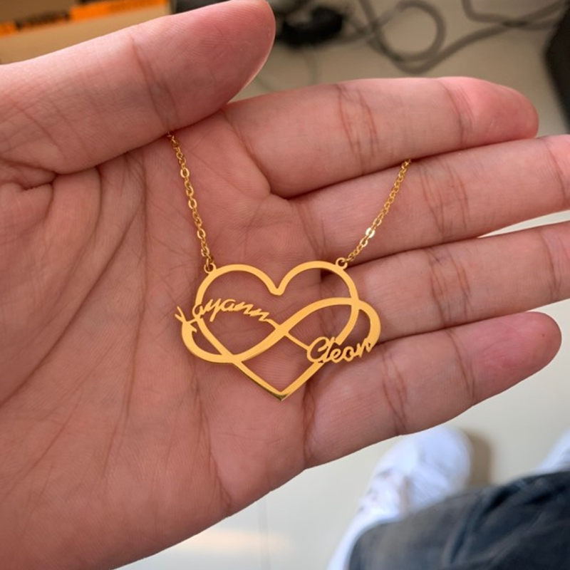Personalized Custom Infinity Double Name Heart Pendant Necklaces For Women Couple Stainless Steel Jewelry Valentine's Day Gift