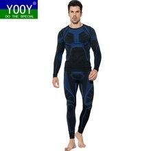 YOOY мужские лыжные комплекты термобелья спортивные быстросохнущие функциональные Компрессионные спортивные костюмы для фитнеса облегающие рубашки куртки спортивные костюмы