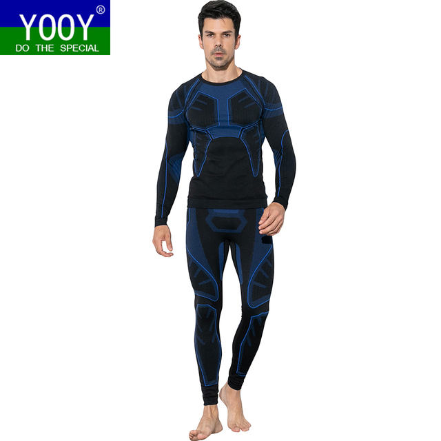 YOOY Men's Ski Thermal Underwear Sets Sports Quick Dry Functional Compression Tracksuit Fitness Tight Shirts Jackets Sport Suits
