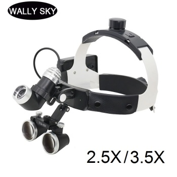 Dental Loupe with LED Headlight 2.5X/3.5X Bincoular Magnifier Medical Surgical Helmet Dental Loupes Medical Surgery Operation loupe magnifier surgical glasses 2 5x 3 5x dental loupes medical magnifier coated optical lens with clip for dentist surgical