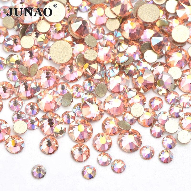 JUNAO 16 Cut Facet SS10 SS16 SS20 смешанные размеры стеклянные кристаллы цвета шампань AB Стразы с плоским основанием блестящие украшения Драгоценные Кам...