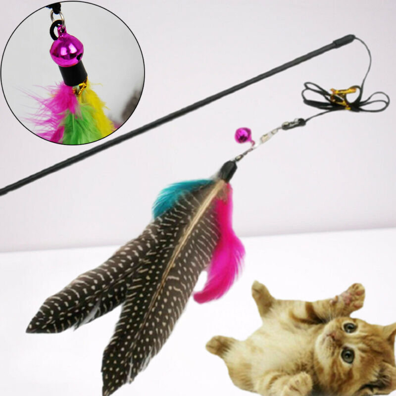 Funny Kitten Cat Pet Play Long Teaser Wand Interactive Fun Toy Pet Feather Bell Cat Supplies Pet Products
