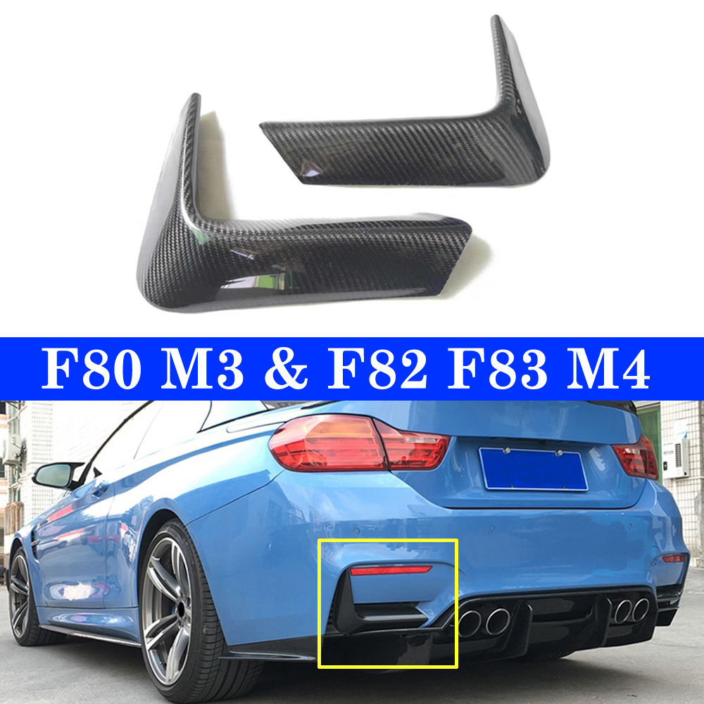 M3 M4 Rear Lip Splitter Splitters Flaps Apron Winglets for BMW F80 M3 4 Door F82 F83 M4 2 Door 14-17 Genuine Carbon Back Corner image