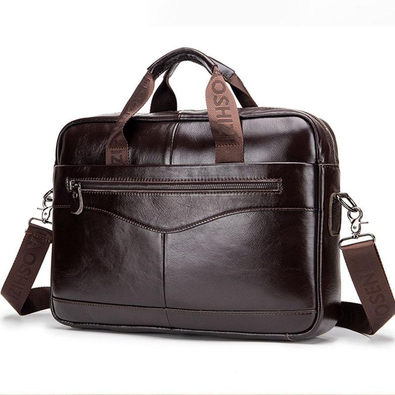 Men's Genuine Leather Briefcase Vintage Man 14'' Laptop Bag Handbags Crossbody Bags Office Bags For Men 2019 Bussiness Briefcase