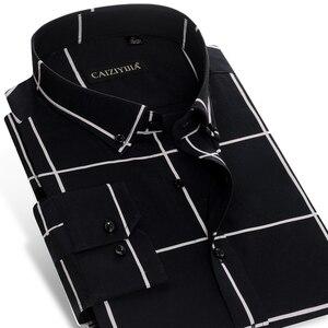 Image 2 - Männer Große Plaid und Überprüfen Pflegeleicht Baumwolle Hemd Lange Sleeve Standard fit Taste Unten Kragen Casual gingham Shirts