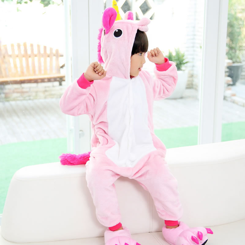 Tianma Autumn And Winter Flannel Unicorn Animal One-piece Pajama Men And Women Children Tracksuit Parent And Child Thick Toilet