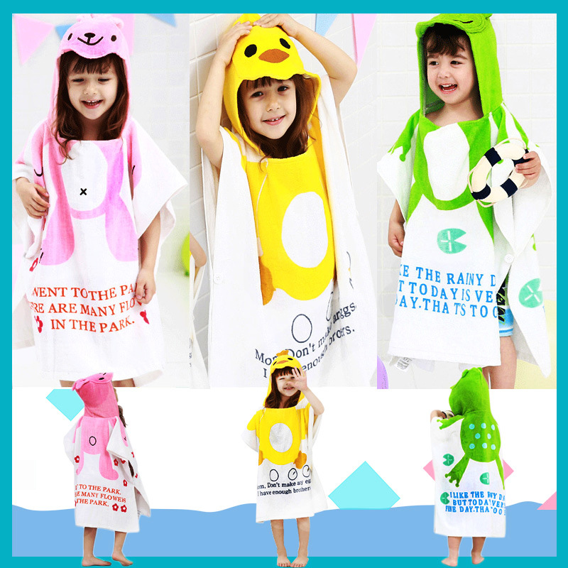 Bath Towel For Children Mantle Cloak Hooded Pure Cotton Super Absorbent Quick-Dry Baby Cartoon Bath Bathrobe Bathrobe Infant